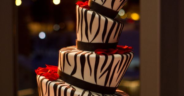 Zebra print wedding cake. Made by Cakes by Jeryll Zebra print wedding