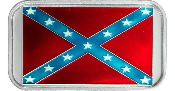 Confederate Flag 1oz 999 Silver Bar Enameled Silver