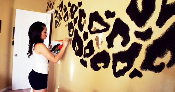 Leopard Print Wall. I love this for a girls room! Probly not