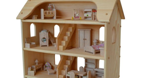 Handcrafted Natural Wooden Toy Dollhouse Furniture Set Waldorf Dollhouse Wooden Doll House