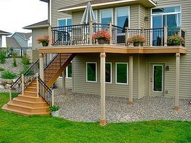 Two Story Decks With Stairs Two Story Deck Love The Stairs Home Ideas Second Story Deck Deck Stairs Decks Backyard