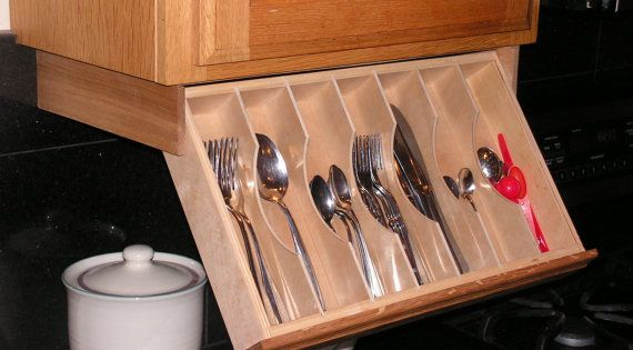 kitchen cabinet utensil organizer cabinet drawer silverware storage flatware 19747