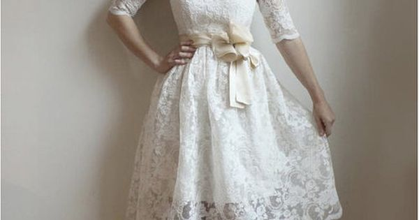 White lace dress with a little POOF. Reception Dress