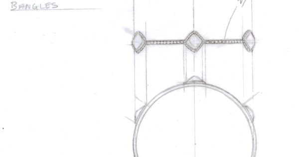 rough diamond bangle sketch drawings illustration