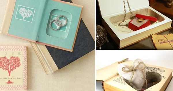 herz ringkissen hochzeit ringbuch buch vintage idee. Black Bedroom Furniture Sets. Home Design Ideas