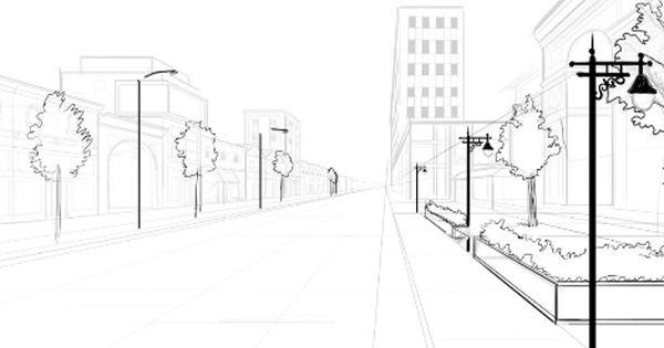 حل وظيفة رسم شارع ثلاثي الأبعاد مع أشجار مرحبا كما عودناكم دائما نقدم لكم اليوم طريقة بسيطة لرس Perspective Drawing Architecture Street Scenes City Drawing