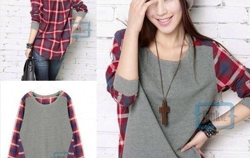 Tops Women Long Sleeve T Shirt Plaid Bottoming Shirt Hoodie Loose Blouse
