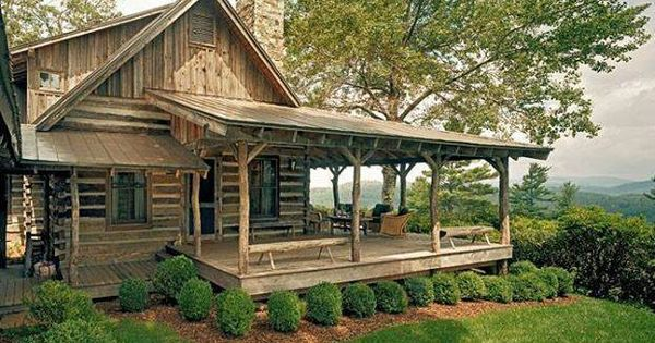 Log cabin wrap around porch cozy cabins pinterest for Full wrap around porch log homes