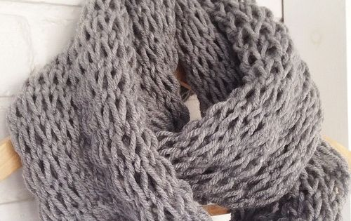 Loose Knit Scarf Pattern Free : Devise. Create. Concoct. DIY Loose-Knit Infinity Scarf Knit scarf pattern...