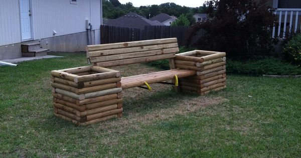 Here 39 s a bench i designed with a few landscape timbers for Landscape timber bench