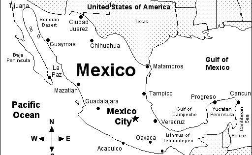 Map of Mexico with major cities and other surronding areas ...