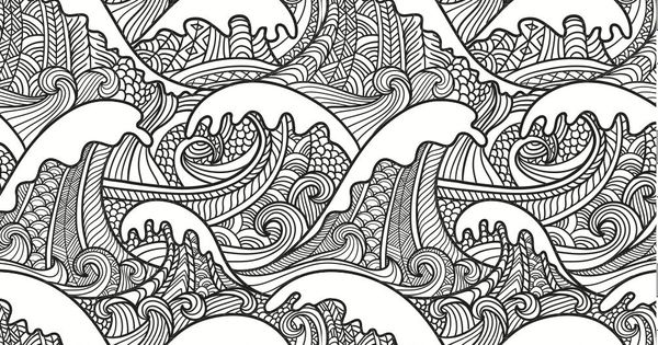 Colouring Books For Adults Japanese Style Waves And