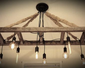 Vintage Farmhouse Ladder Chandelier With Edison Bulbs Made Diy Chandelier Rustic Chandelier Farmhouse Chandelier