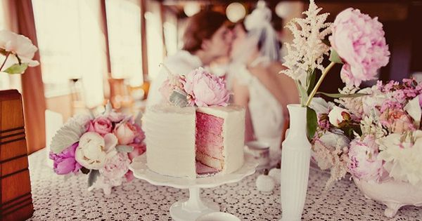 pink peonies and pink layer cake