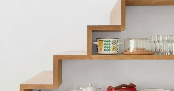 Kathryn Tyler Grand Designs house in Cornwall - staircase shelving