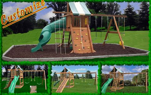 Swing set plans jungle gym plans free woodworking plans for Wooden jungle gym plans