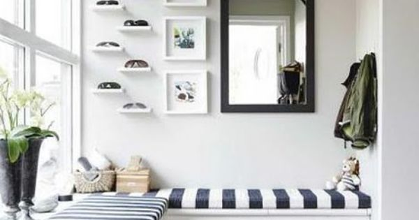 Bench & high shelves. blue black white stripes mirror trim shelves window