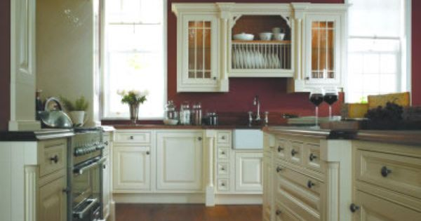 This Is What I Dream Of Cranberry Painted Walls And Cream Not White Cabinets But With Different Hardware Red Kitchen Walls Home Kitchens Country Kitchen