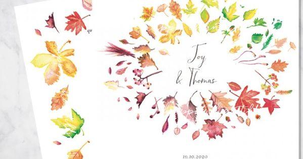 Faire Part Feuilles Automne Aquarelle Happy Studio Mariage Wedding