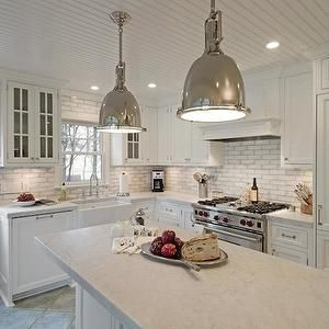 Marble Counters White Brick Tile Backsplash Kitchen Island Farm