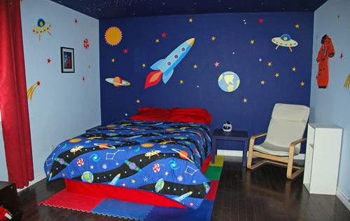 Kids Space Themed Bedroom Ideas Painted Mural Like The