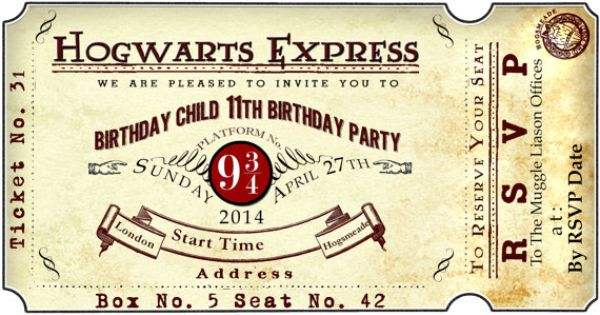 Harry Potter Platform 9 3/4 Train Ticket Birthday Party ...