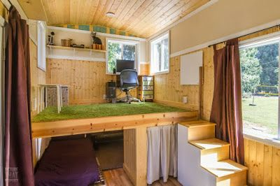 Red Bungalow Tiny House Has A Stand Up Office Loft Tiny House Swoon Tiny House Bedroom Tiny House Loft
