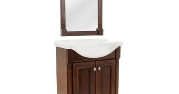 Valencia 25 In Vanity In Glazed Hazelnut With Porcelain Vanity Top In White And Wall Mirror For The Powder Room Vanity Vanity Top Vanity Combos
