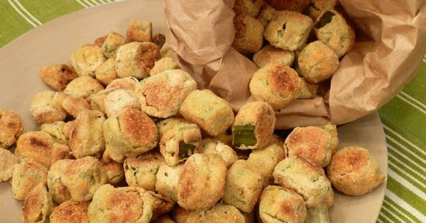 "Oven ""fried"" okra: 7 (1/2 cup) servings - There is no oil"