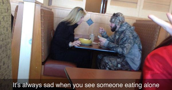 Sad Alone Memes: It's Always Sad When You See Someone Eating Alone #camo