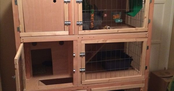 Homemade Wooden Three Story Rabbit Hutch For Multiple