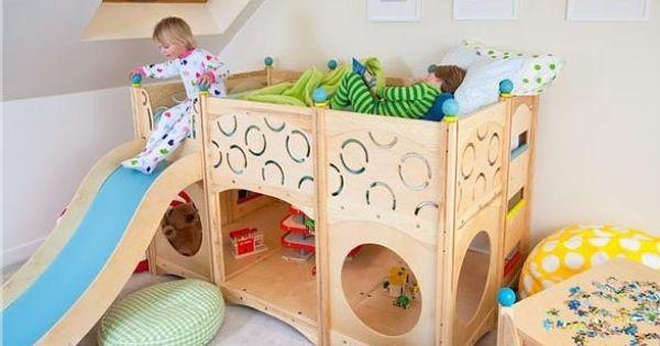 Chambre pour enfant avec un lit mezzanine et toboggan chambre pour enfant lits mezzanine et - Verlicht mezzanine pour enfant ...