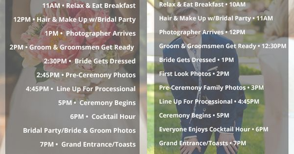 A Great Wedding Day Timeline... Whether You Are Planning A