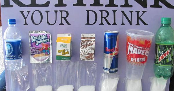Rethink Your Drink display showing quantities of sugar in soda, etc. -