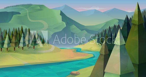 Forest Landscape Nature Vector Background Nature Vector Forest Landscape Vector Background