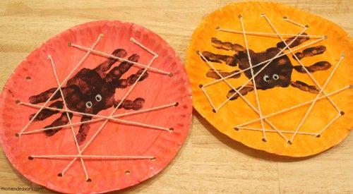Spider web paper plate kids DIY halloween craft