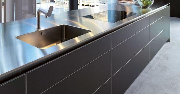 bulthaup b3 edelstahlmonoblock mit front in aluminium grau. Black Bedroom Furniture Sets. Home Design Ideas
