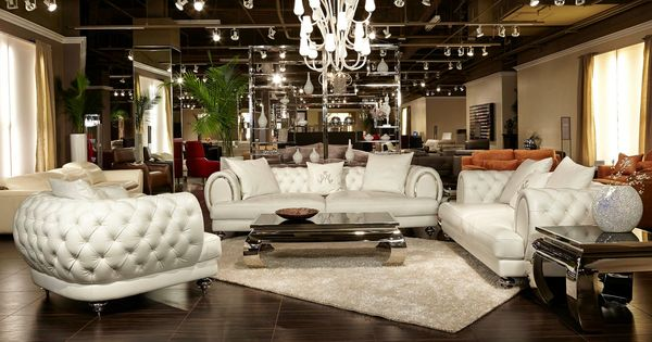 Fabulous formal living room furniture design in luxury white button