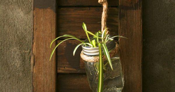 Mason Jar Wall Decor Pinterest : Shabby chic decor mason jar wall hanging glass vase