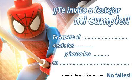Tarjeta De Cumpleaños De Hombre Arania Spiderman Lego