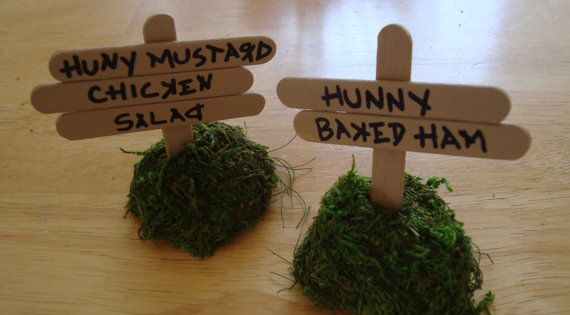 simple but cute food sign ideas for a pooh party. Get woodgrain