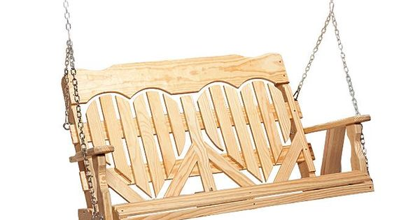 Amish Made Pine Wood High Back Heart Porch Swing Judges