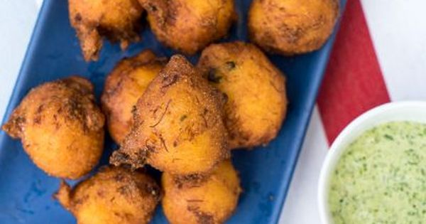 Crab Hush Puppies With Cilantro Jalapeno Dip Recipe With Images Food Network Recipes Recipes Food