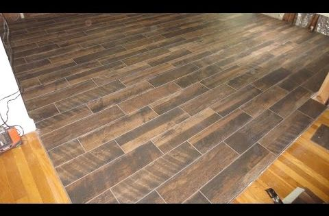 Wood Look Plank Tile Installation Time Lapse On Schluter Ditra With T Lock Youtube Wood Look Tile Floor Plank Tiles Installing Hardwood Floors