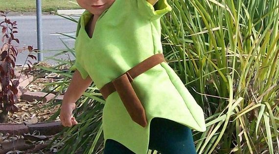 Peter Pan Costume Child Size Faux Lime Green Suede Tunic Green Felt