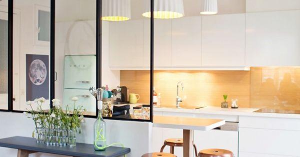 Id e de cloison pour s parer cuisine et salon int rieur - Cloison vitree cuisine salon ...