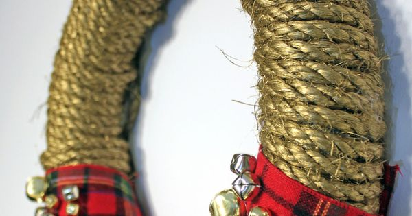 like the rope wreath...ditch the plaid and jewels...add a burlap bow