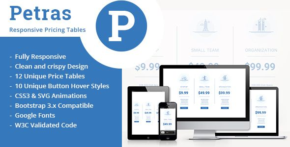 Petras Responsive Price Tables Petras Is A Fun Colorful Fully Responsive Pricing Table We Utilize Html 5 Pricing Table Web Development Design Css Templates