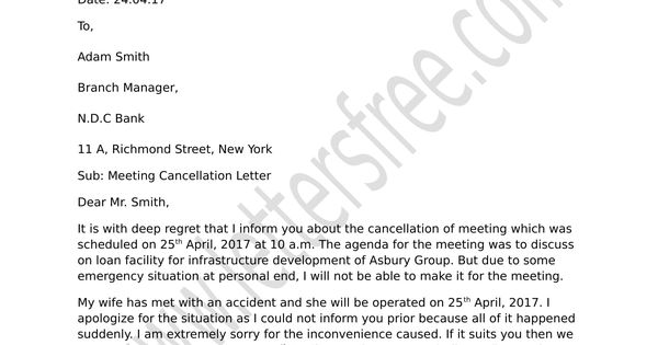 frame a formal meeting cancellation notice  use the format