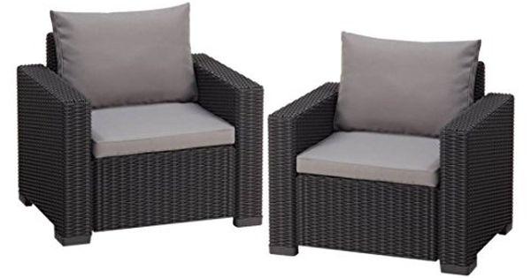 Transcontinental Allibert California Armchair Graphite Grey Set Of 2 Lounge Sessel Garten Lounge Sessel Gartensessel